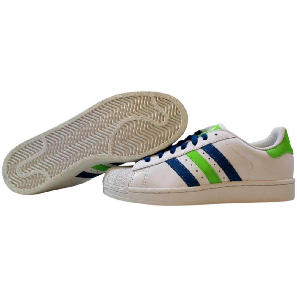 Adidas Superstar II Running White/Herbal Blue-Ray Green Q33036