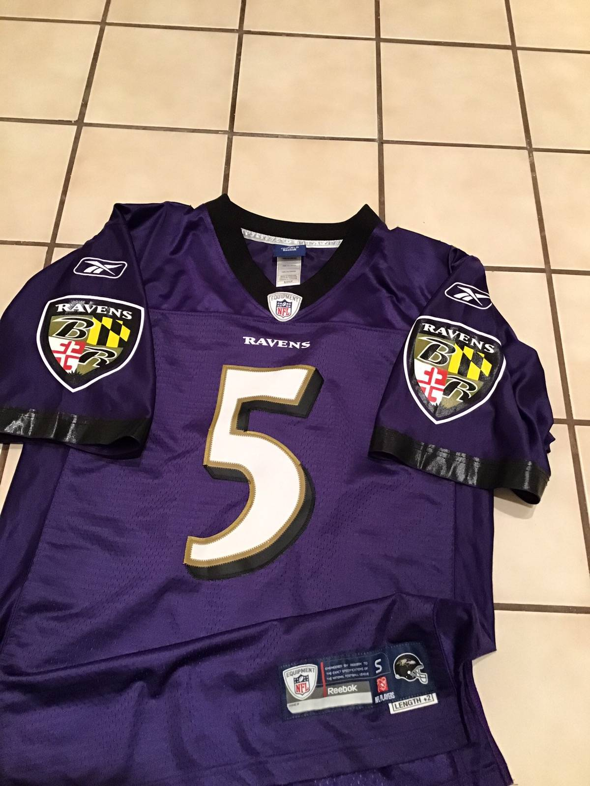 Reebok Reebok On Field Baltimore Ravens Joe Flacco #5 Sewn Jersey