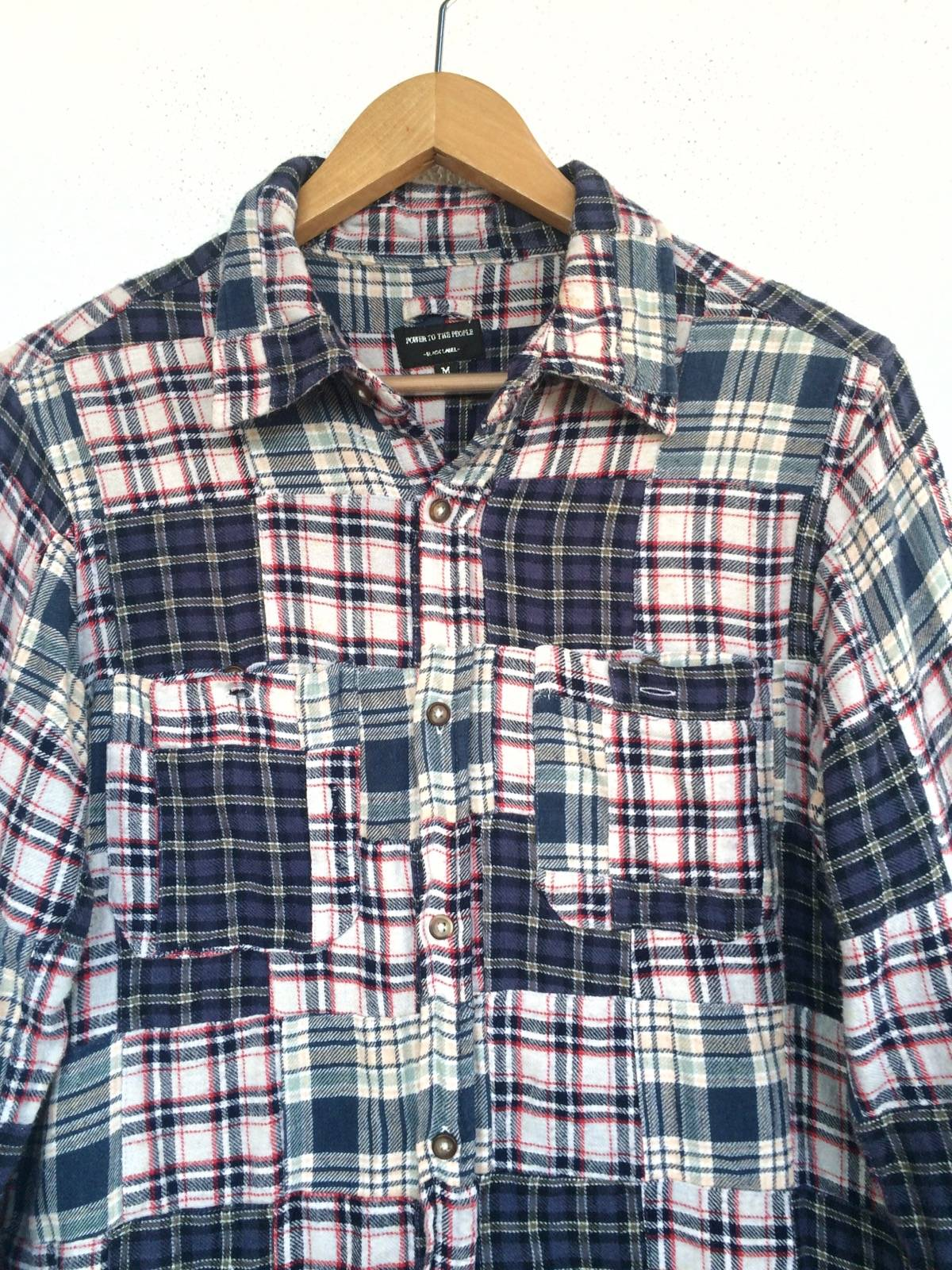 Power To The People Shirt Mens Size M Power To The People Japan Patchwork Shirt Japanese Plaid Checkered Patchwork Button Up
