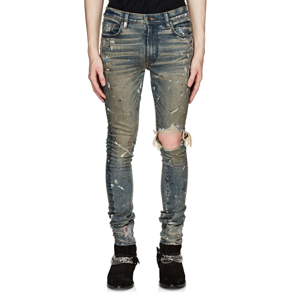 Amiri Amiri Broken Paint Splatter Jeans Dirty Indigo