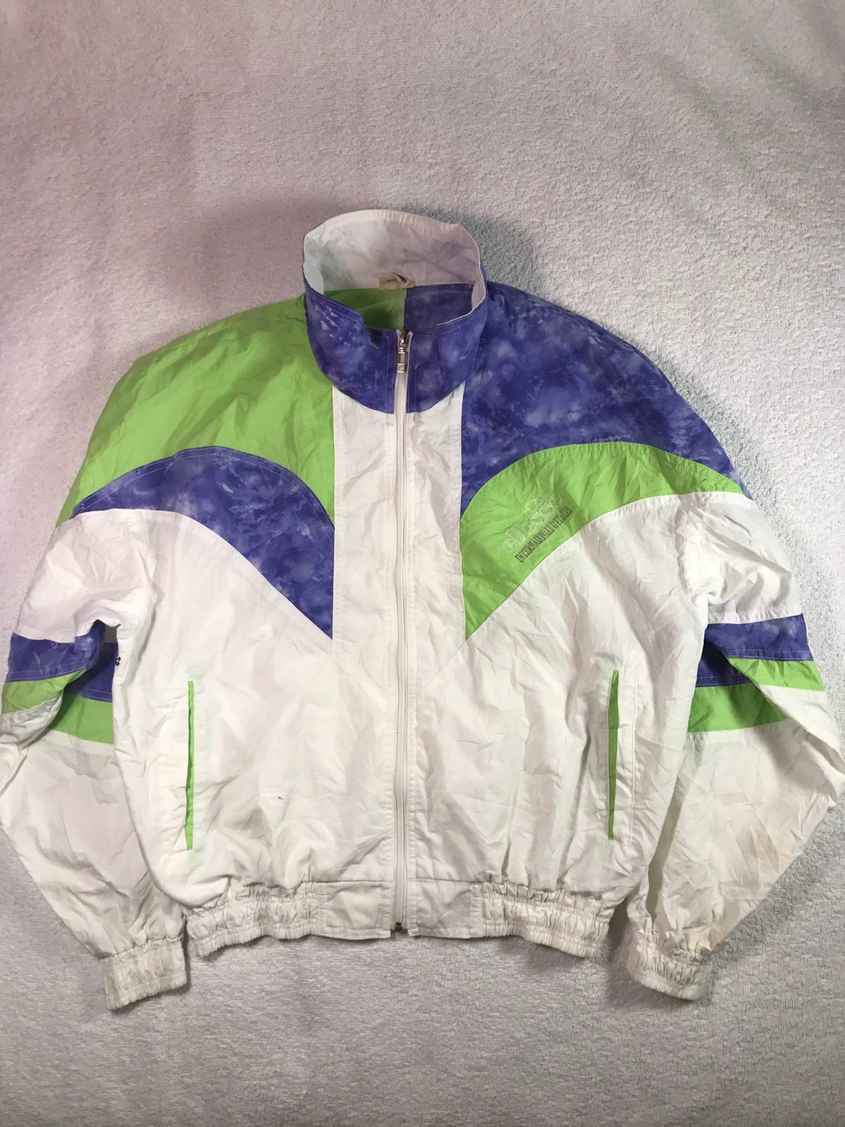 Vintage Jacket Ellesse Anno Italy Multicolor Spellout Jacket Nice Design Medium Size Rare!!