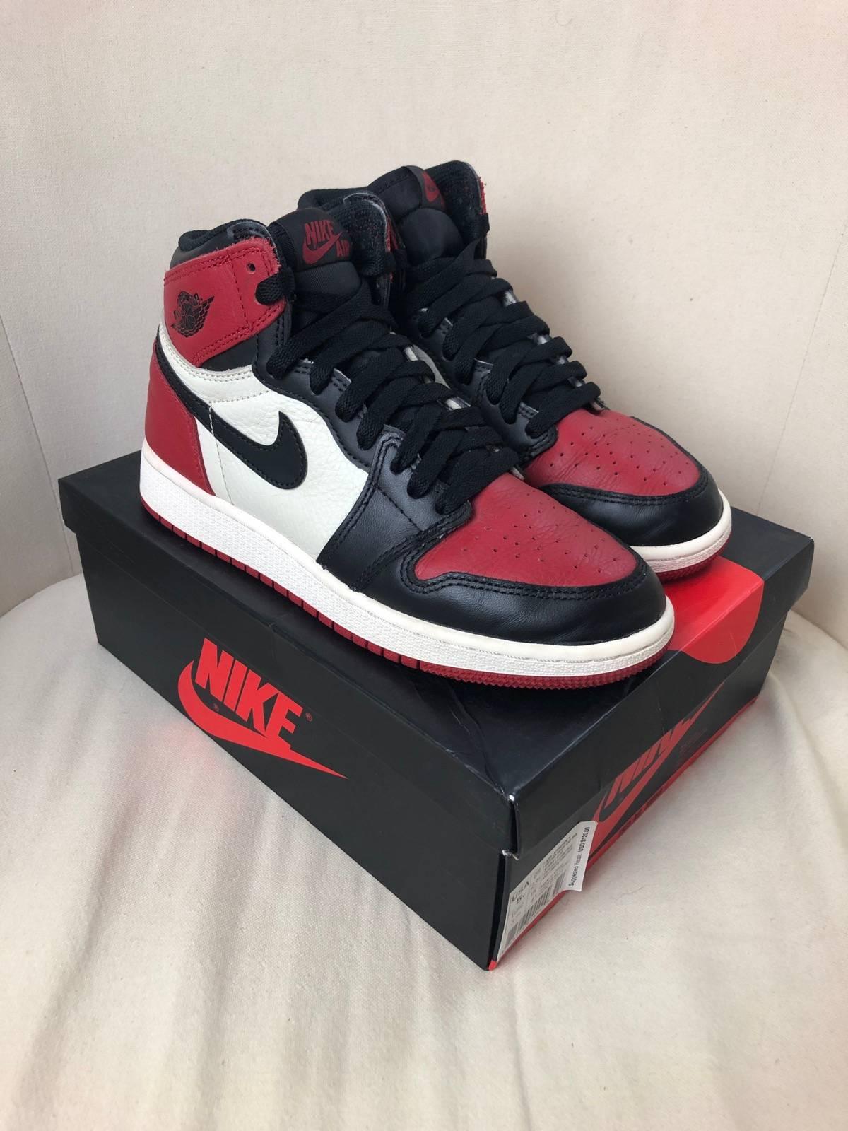 Jordan Brand Nike Air Jordan 1 1s Retro High OG BG Bred Toe Toes