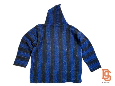 AUTHENTIC MEXICAN PONCHO HOODIE SWEATER FROM MEXICO BLACK BLUE FLANNEL LARGE