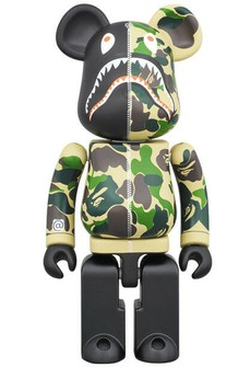 Medicom 100/% Bearbrick ~ A Bathing Ape Bape x Medicom Toy Camo Shark Be@rbrick