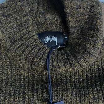 Stussy Mock Neck Military Sweater Small