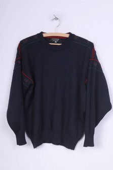 Jaeger Jaeger Mens M Jumper Crew Neck Navy Sweater Wool Top Pullover Vintage 1391 Grailed