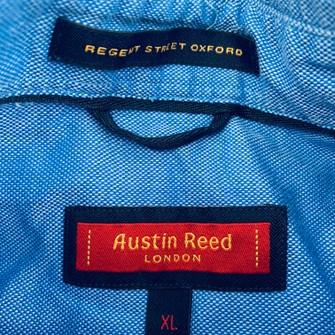 Austin Reed Austin Reed Solid Blue Dress Shirt Sz Xl Button Front Long Grailed