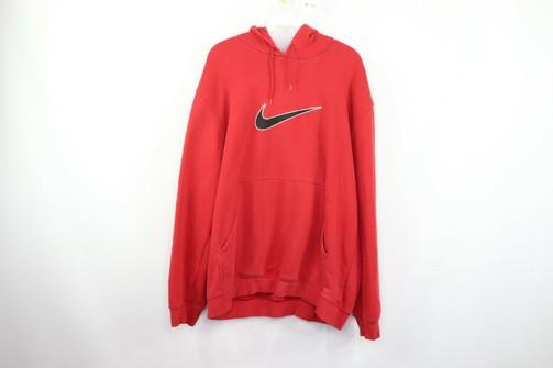Vintage Nike Mens Large Big Swoosh Logo Pullover Hoodie Hooded Sweatshirt  Red