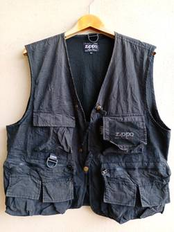 Zippo Vest Black Colour Good Design Branded Button Clip Many Pocket Design Medium Size Japanese Brand Fishing Outdoor
