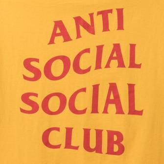 DS Anti Social Social Club ASSC x DHL Red Logo Gold Tee in hand Supreme Offwhite