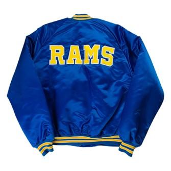 L Vintage Satin Los Angeles Rams Chalk Line Jackset Sz