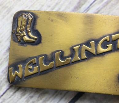 Wellington KS Belt Buckle Vintage Cowboy Boots Horse Western Country Spurs Rockabilly