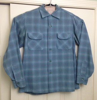 Medium Pendleton Plaid Wool Shirt With Loop Collar Made in USA
