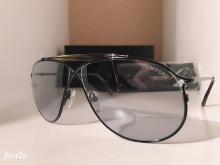 Authentic Tom Ford Tom N.6 Private Collection Black Smoke Aviator   Sunglasses