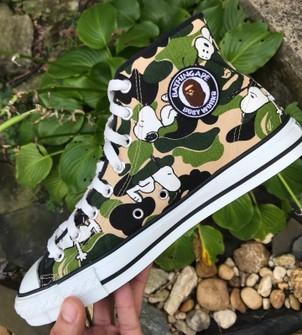 Bape Rare A Bathing Ape X Snoopy Green Camo Converse