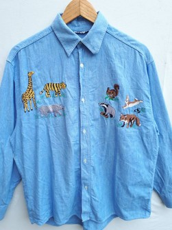 Made In Italy Nara Camicie Chambray Button Up Shirt Colorfull Floral Embroidery RARE Size XS