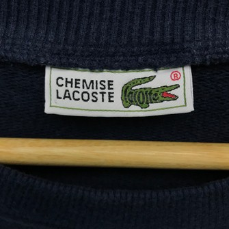 code 1 Vintage Le Chemise Lacoste embroidered Spell Out Logo Sweatshirt Hip-hopJapanUSA
