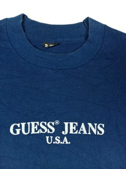Vtg 90s Guess Jeans USA T-Shirt Blue Stripes L Embroidered Logo