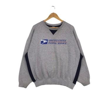 USPS POSTAL BLACK CREW NECK Sweatshirt with US Logo Chest United States Service