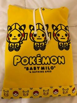 A BATHING APE POKEMON FULL ZIP HOODIE Jacket Top BAPE Pikachu Baby Milo PSL