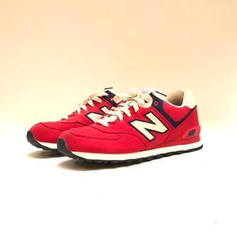 New Balance New Balance 574 red fabric edition trainers