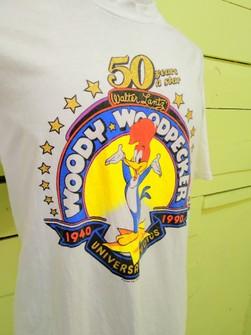 Vintage Woody Woodpecker Crew Neck Sweatshirts Big Logo Graphic Prints Jumper Pullover Sportswear Streetwear Activewear Walter Lantz Studio