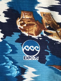 Rare Vintage 70s EXPO 75 Okinawa Japan Barkcloth Hawaiian Camp Aloha Shirt All Over Print Hawaiian Shirt