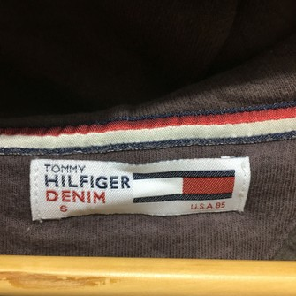 Vintage TOMMY HILFIGER Brown Hoodie Sweatshirt Spell Out Hilfiger Denim Size S