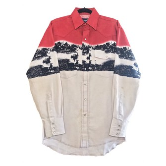 Unisex size largexlarge Awesome wranglers vintage 1980\u2019s90\u2019s western bull horn print snap shirt