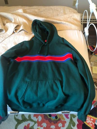 Supreme SS19 Chest Stripe Logo Hooded Sweatshirt camp box hat logo cap Red