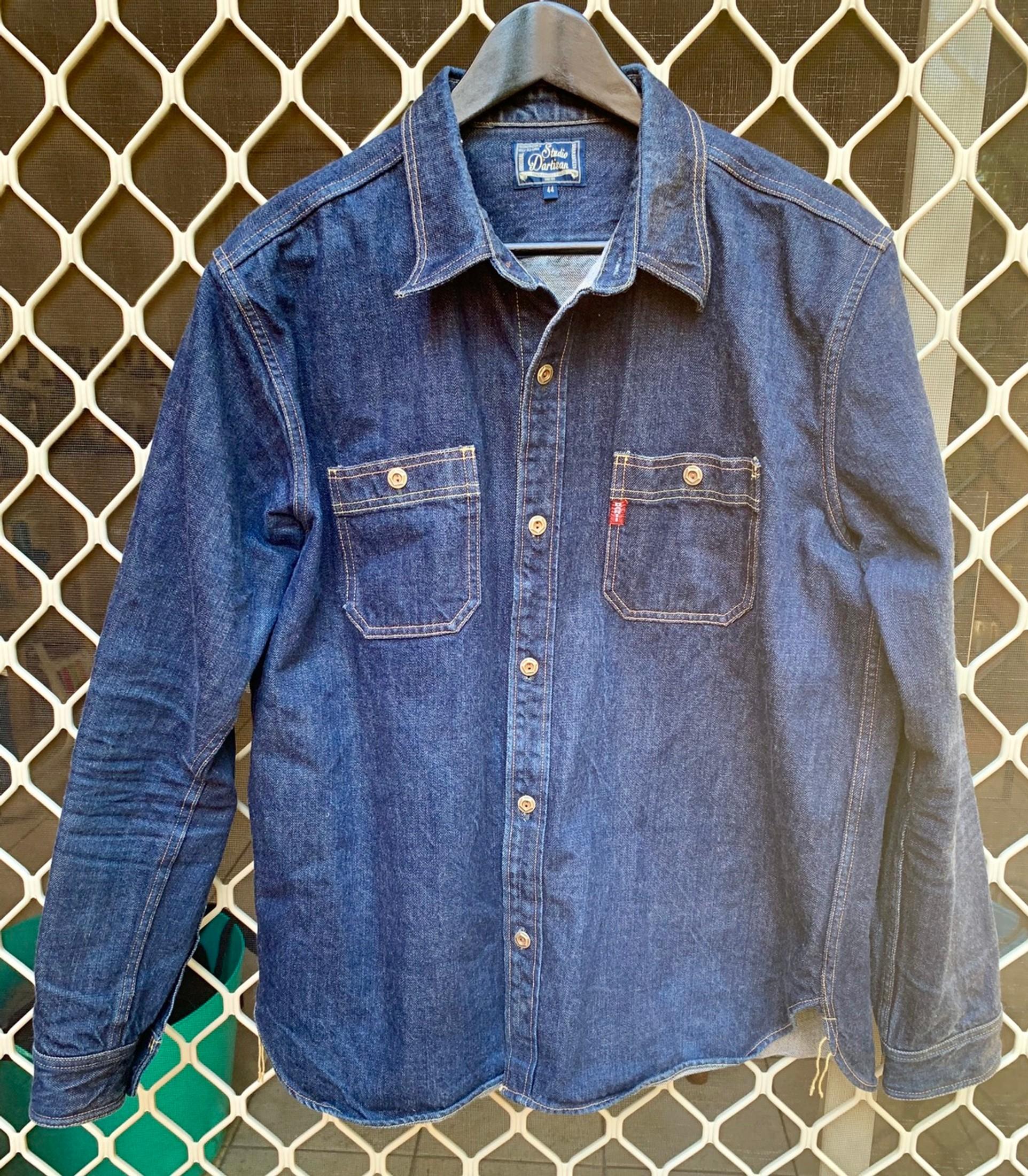MOUTEN Mens Washed Buttons Denim Chest Pocket Short Sleeve Fashion Shirts