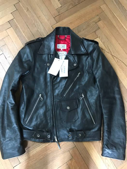 M Replica Perfecto Tags With Size Us Margiela Jacket Biker Eu Maison 48 Leather f1Ax6Fwqv