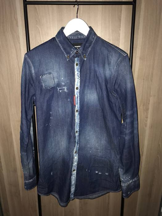 For Shirt Denim Shirts button S Size Dsquared2 Ups 5qf0Z