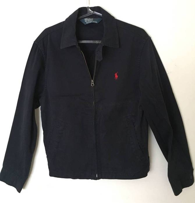 Harrington Polo Blue Jacket Navy Ralph Cotton Zipper Classic Lauren wvqrRfxw