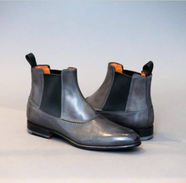 Boot From Italy Leather Brushed Smooth Santoni new Ankle 4Pqwc0