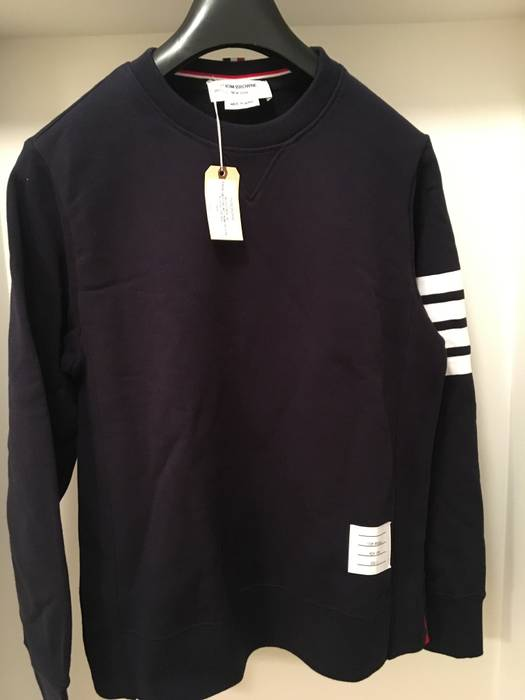 Cotton Fit Thom Striped Sweatshirt Size Slim Loopback Jersey Browne w4qqEFxUX