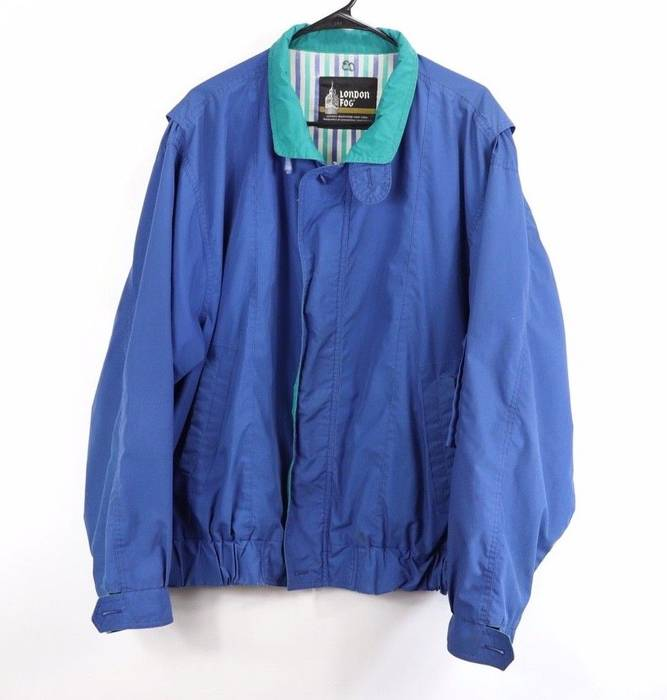 8c111ba9f5fbf8 Vintage Vintage 80s London Fog Mens XL Full Zip Windbreaker Bomber Jacket  Blue Size US XL