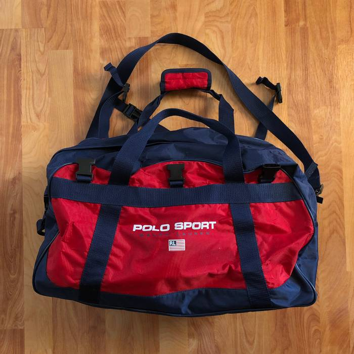 a2068738d96d Polo Ralph Lauren VTG 90s Polo Sport Duffle Bag Red Blue Rare Size ONE SIZE