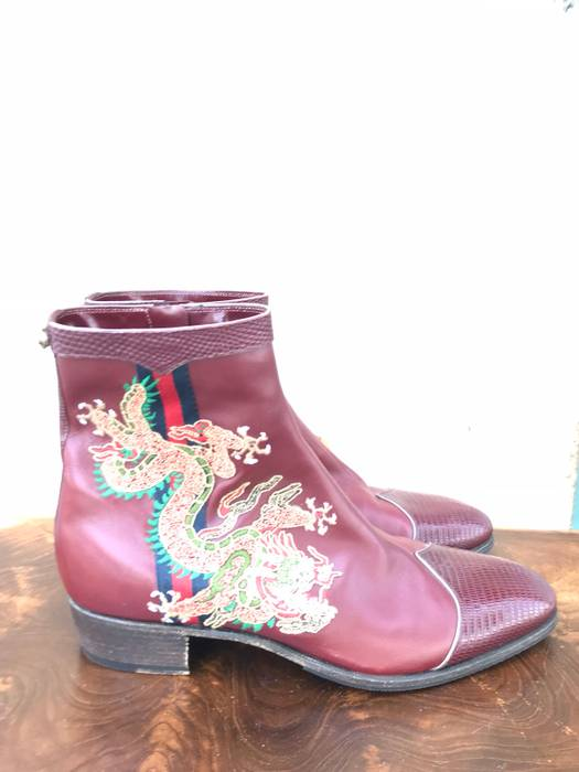 16b73306083ca Gucci Gucci Bordeaux Leather Boot With Dragon Embroidery Size US 7   EU 40  - 1
