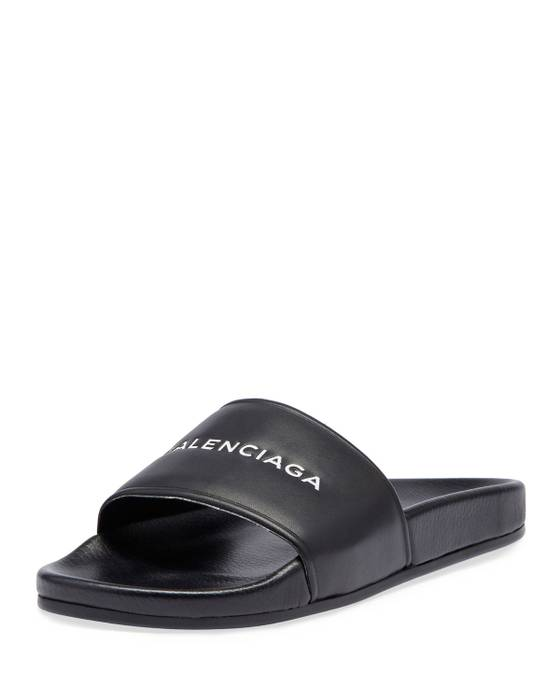 e9daaae32 Balenciaga Leather Slides in Black (New Logo) Size 13 - Sandals for ...