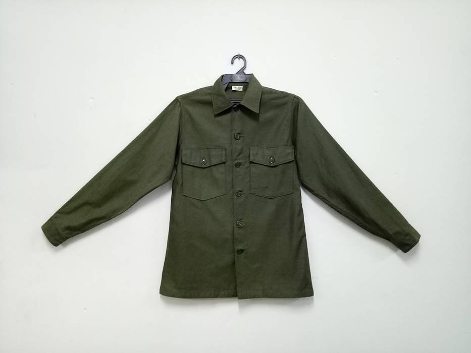Vintage Vintage Army Button Up Shirt Olive Green Mens Rare