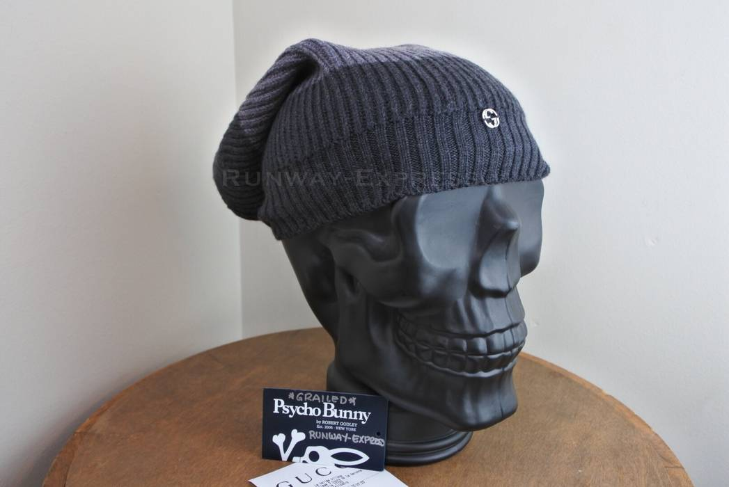 Gucci. Gucci Men s 310777 Wool Gray   Dark GG Slouchy Beanie. Size  ONE SIZE c08e63a92928