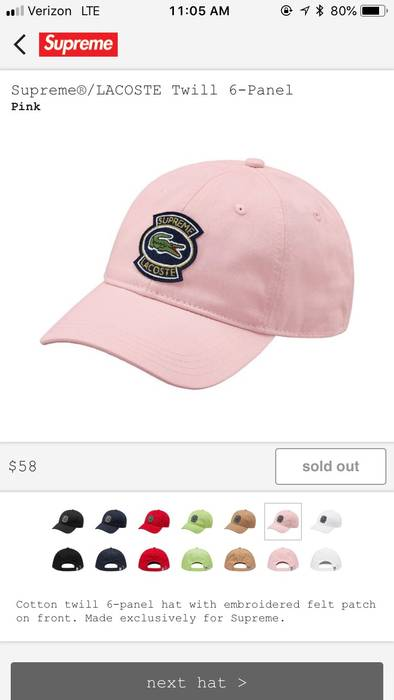 Supreme Twill 6-Panel Hat Pink Size one size - Hats for Sale - Grailed 91a200ba79e0