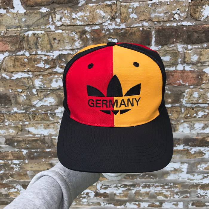 Adidas. Vintage Adidas SnapBack Germany Yellow Red Black Hip Hop Rap Fits Smaller  Heads 3995d2a4d6a