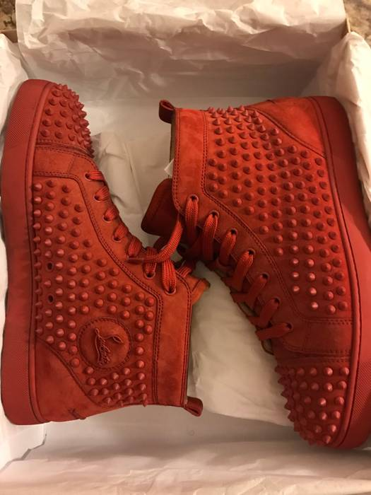 1fb9c8538bb2 Christian Louboutin Louis Spike Red Suede Size 10.5 - Hi-Top ...