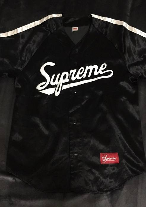 869312061 Supreme Black Supreme Satin Baseball Jersey Size Medium SS17 Size US M   EU  48-
