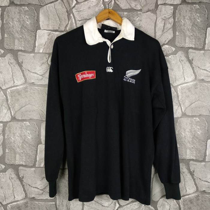 3377d93df1c Canterbury Of New Zealand. Vintage Canterbury Rugby New Zealand All Black  Steinlager Rugby Union Jersey Long Sleeve ...