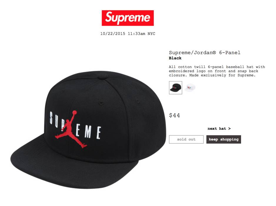 Supreme x Air Jordan Hat (Black) Size one size - Hats for Sale - Grailed 9f3ea2e7f86
