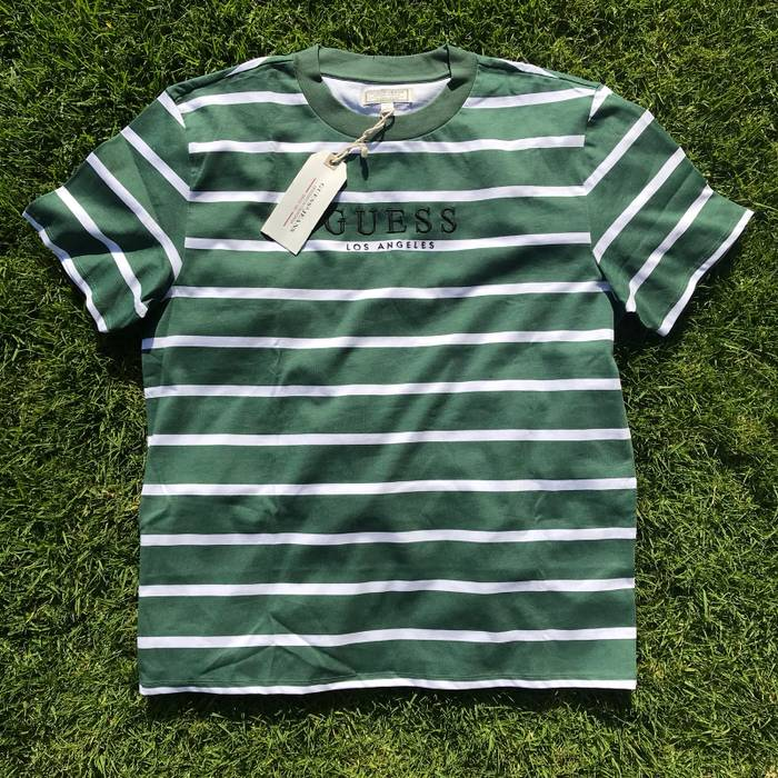 4fac120c2b4ad1 Guess Guess Striped Shirt Green White Size l - Short Sleeve T-Shirts ...