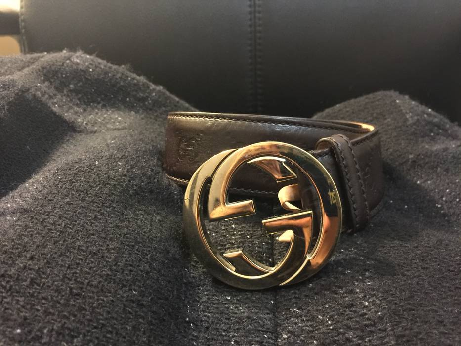 2c5565f9eda Gucci Guccissima leather belt with interlocking G buckle Size 34 ...